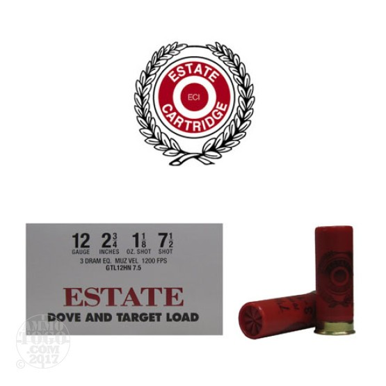 "250rds - 12 Gauge Estate 2 3/4"" 3 Dram 1 1/8oz. #7 1/2 Shot"