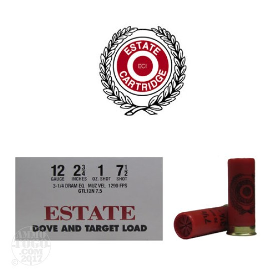 "250rds - 12 Gauge Estate 2 3/4"" 3 1/4 Dram 1oz. #7 1/2 Shot Ammo"