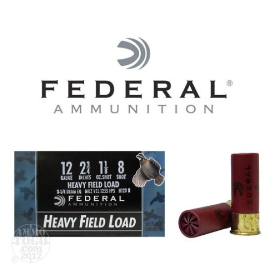 "250rds - 12 Gauge Federal Game Shok Heavy Field 2 3/4"" 1 1/8oz. #8 Shot Ammo"