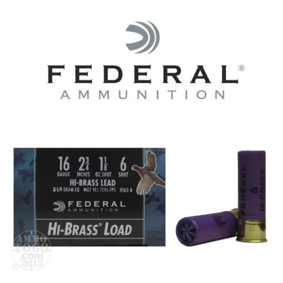 "250rds - 16 Gauge Federal Game-Shok 2 3/4"" 1 1/8oz. #6 Shot Ammo"