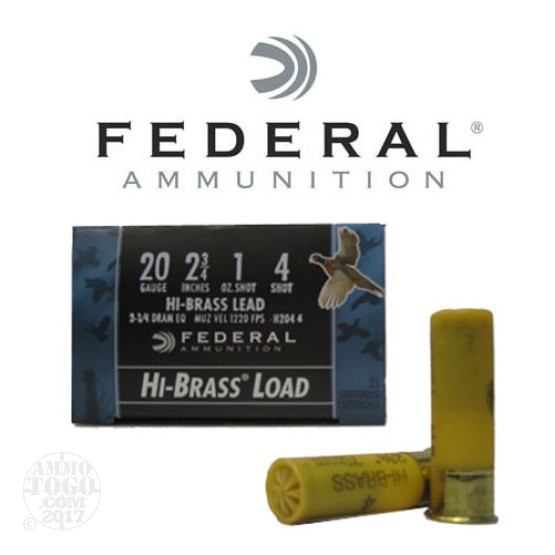 "250rds - 20 Gauge Federal Game Shok Hi-Brass 2 3/4"" 1oz. #4 Shot Ammo"