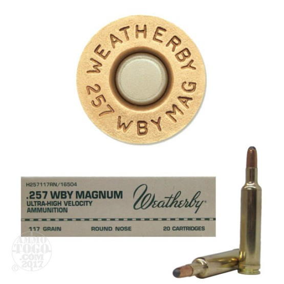 20rds - 257 Weatherby Mag. 117gr. Round Nose-Expanding Ammo