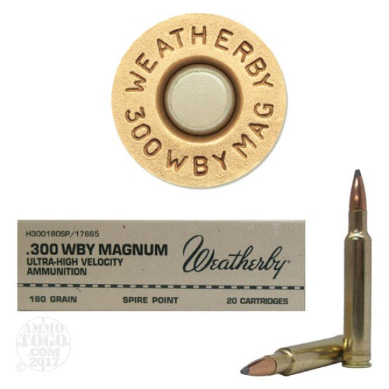 20rds - 300 Weatherby Mag. 180gr. Spire Point Ammo