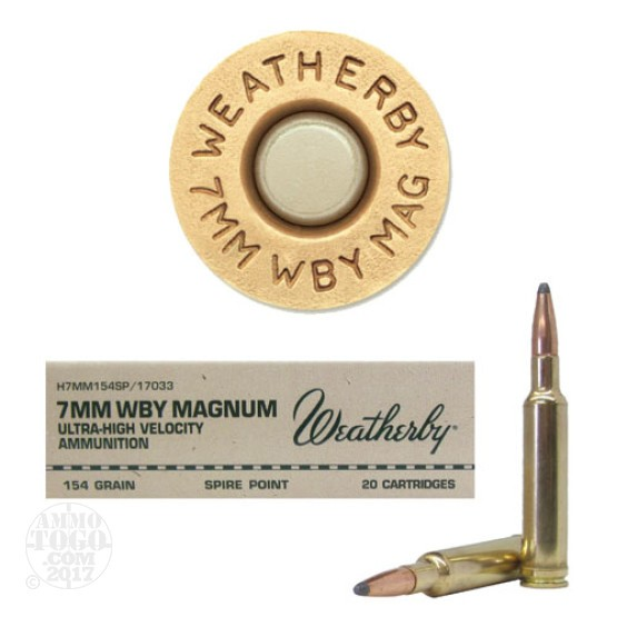 20rds - 7mm Weatherby Mag. 154gr. Spire Point Ammo