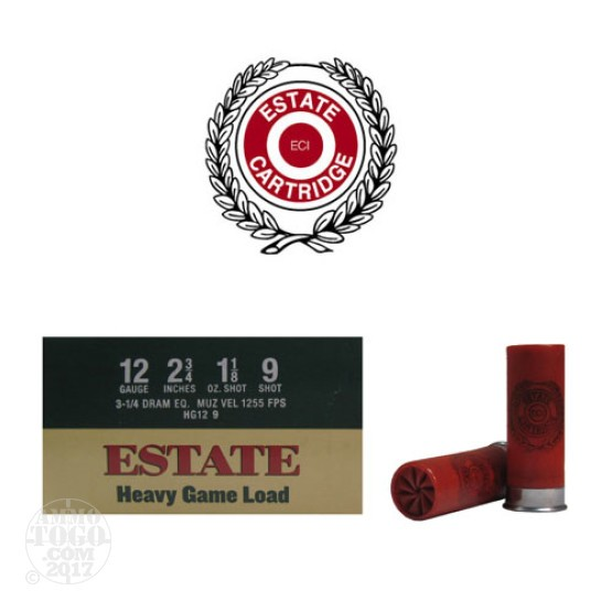 "250rds - 12 Gauge Estate 2 3/4"" 3 1/4 Dram 1 1/8oz. #9 Shot"