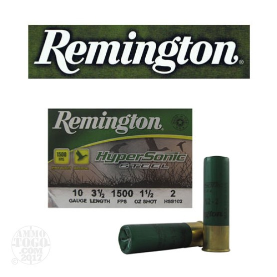 "25rds - 10 Gauge Remington HyperSonic Steel 3 1/2"" 1 1/2oz. #2 Shot Ammo"