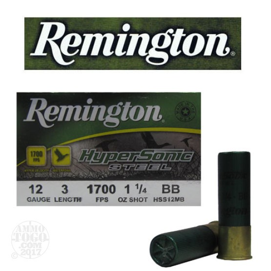 "25rds - 12 Ga. Remington HyperSonic  3"" 1 1/4oz #BB Non-Toxic Steel Shot"