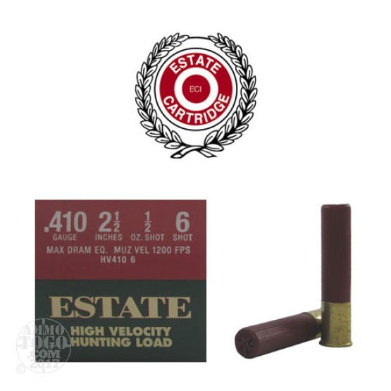 "25rds - .410 Gauge Estate HV Hunting 2 1/2"" Max Dram 1/2oz. #6 Shot Ammo"