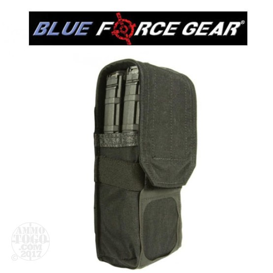 1 - Blue Force Double M4 Magazine Pouch with Flap Black