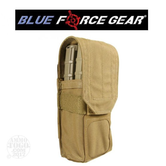1 - Blue Force Double M4 Magazine Pouch with Flap Coyote Brown
