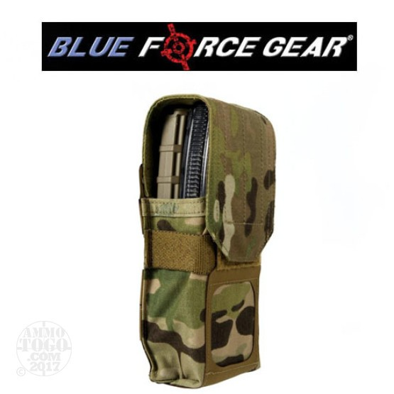 1 - Blue Force Double M4 Magazine Pouch with Flap Multicam
