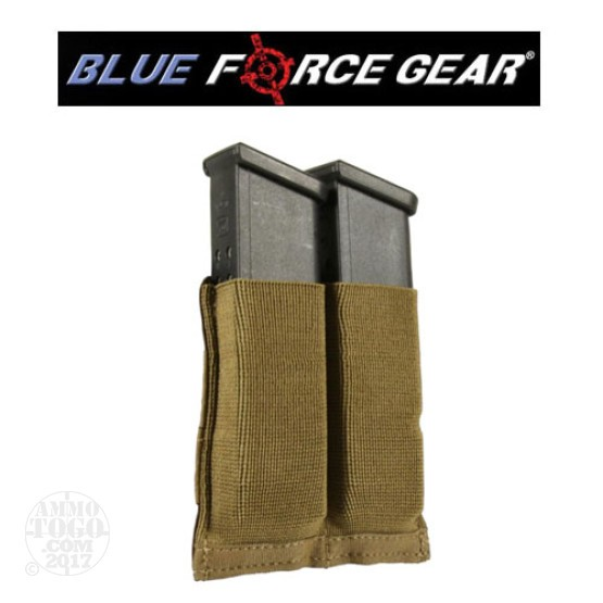 1 - Blue Force Helium Whisper Ten Speed Double Pistol Mag Pouch Coyote Brown