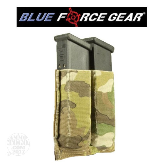 1 - Blue Force Helium Whisper Ten Speed Double Pistol Mag Pouch Multicam