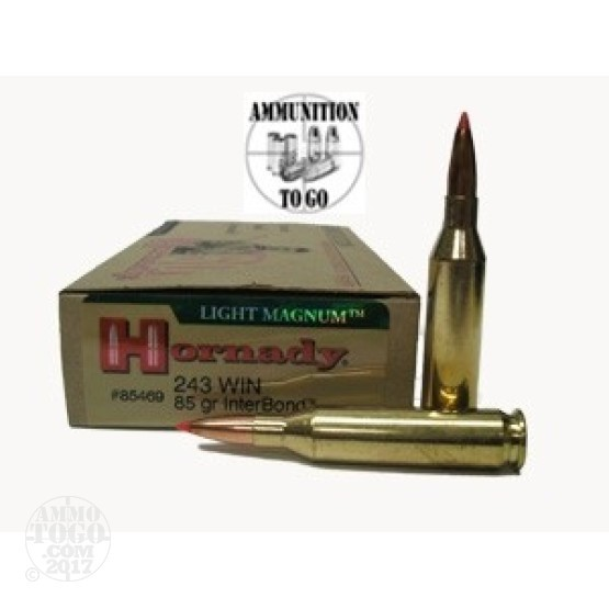 20rds - 243 Win. Hornady 85gr Interbond Light Magnum Ammo