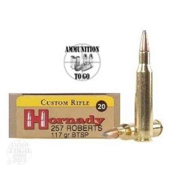 20rds - 257 Roberts Hornady 117gr. +P Interlock Boattail Soft Point