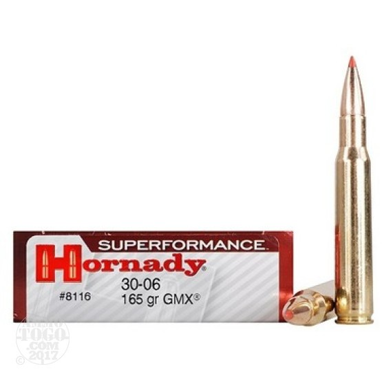 20rds - 30-06 Hornady 165gr. GMX Superformance Ammo