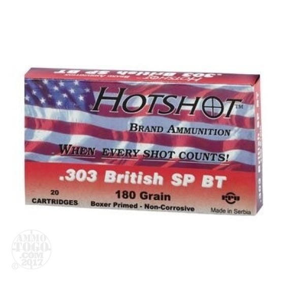 100rds - 303 British Hot Shot 180gr. SP Ammo