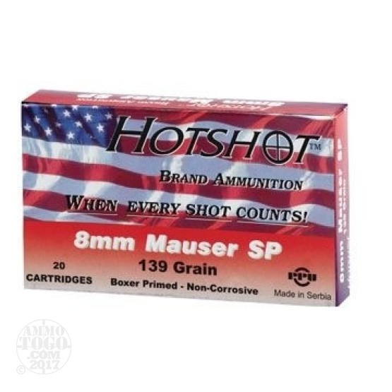 300rds - 8mm Mauser Hot Shot 139gr. SP Ammo