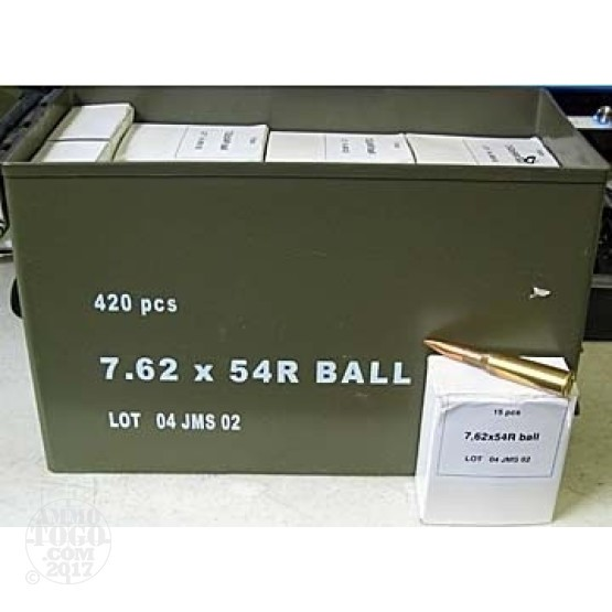 150rds - 7.62x54R U.S. Government Contract 147gr. FMJ Ammo