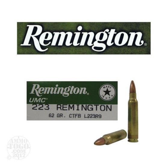 200rds - .223 Remington UMC 62gr. Closed Tip Flat Base Ammo