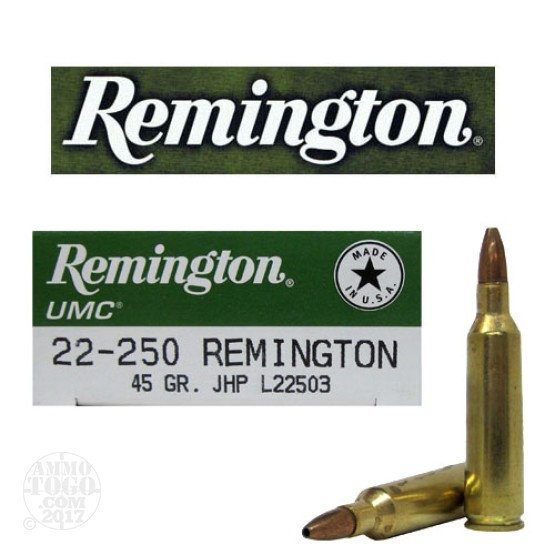 20rds - 22-250 Remington UMC 45gr. Hollow Point Ammo