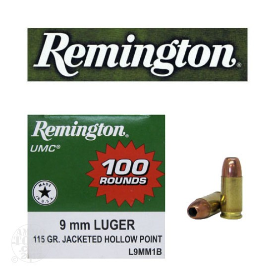 100rds - 9mm Remington 115gr. UMC Jacketed Hollow Point Ammo
