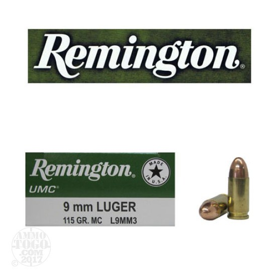 50rds - 9mm Remington UMC 115gr. FMJ Ammo
