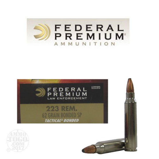 20rds - 223 Federal LE Tactical Bonded 62gr SP Ammo