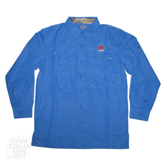 1 - GameGuard Pacific Blue MicroFiber Long Sleeve Shirt (Large) With Ammo To Go Logo