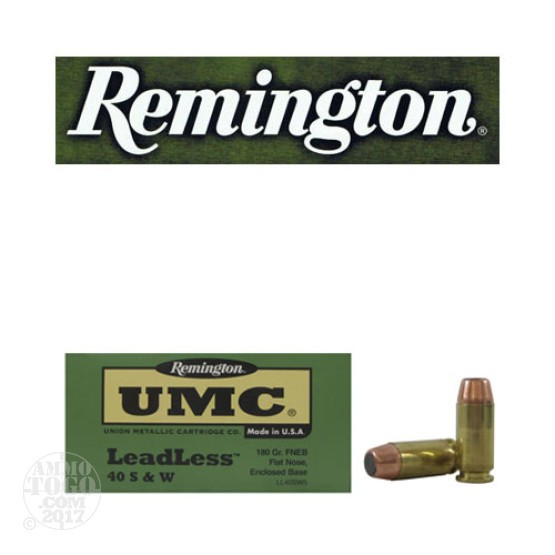 500rds - 40 S&W Remington UMC 180gr Flat Nose Enclosed Base Leadless Ammo