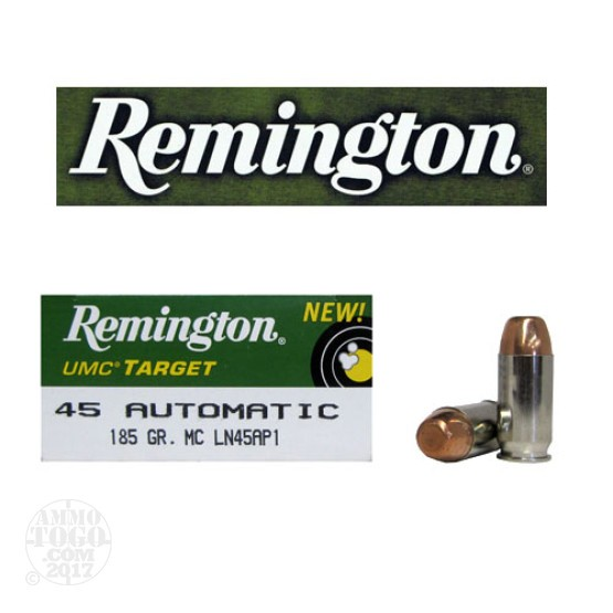 50rds - 45 ACP Remington UMC Target 185gr. Nickel Case FMJ Ammo