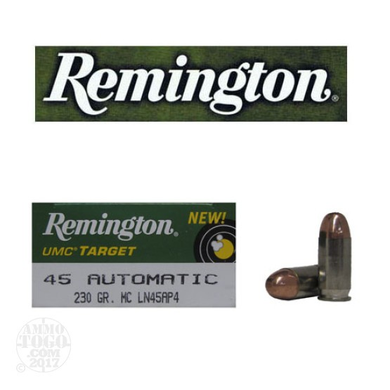 50rds - 45 ACP Remington UMC Target 230gr. Nickel Case MC Ammo
