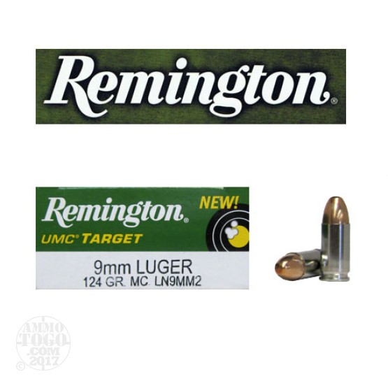 500rds - 9mm Remington UMC Target 124gr Nickel Case FMJ Ammo
