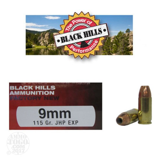 500rds - 9mm Black Hills 115gr. Jacketed Hollow Point EXP (Extra Power) Ammo