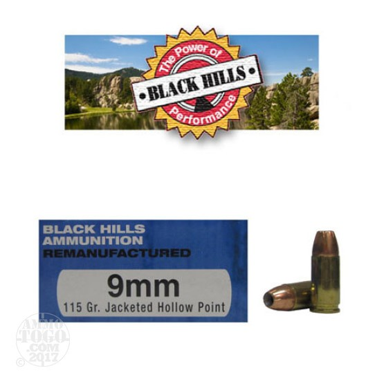 50rds - 9mm Black Hills 115gr. Remanufactured Jacketed Hollow Point Ammo