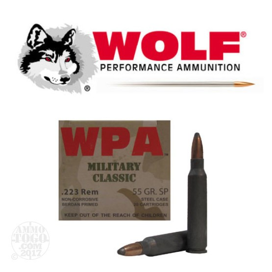 500rds - .223 WPA Military Classic 55gr. Soft Point Ammo