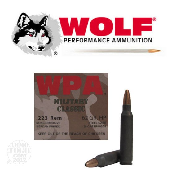 1000rds - .223 WPA Military Classic 62gr. HP Ammo