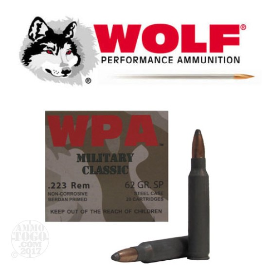1000rds - .223 WPA Military Classic 62gr. Soft Point Ammo
