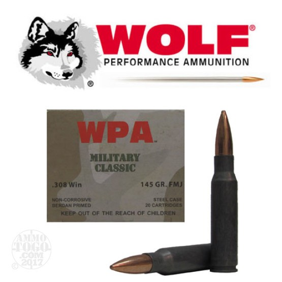 20rds - 308 WPA Military Classic 145gr. FMJ Ammo