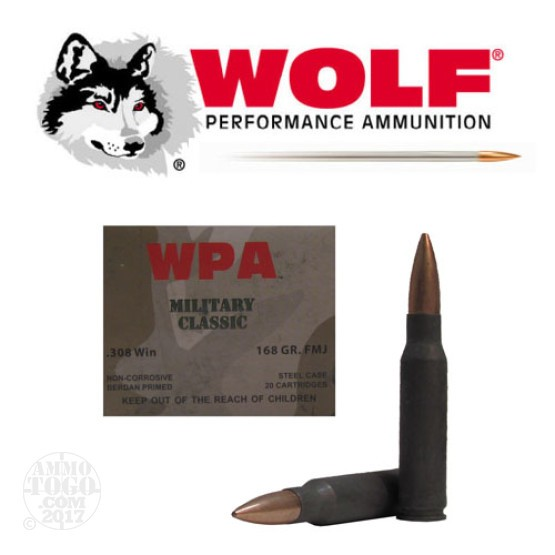 100rds - 308 WPA Military Classic 168gr. FMJ Ammo