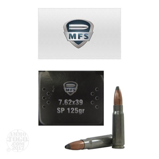 100rds - 7.62x39 MFS 125gr. Steel Cased Zinc Plated SP Ammo