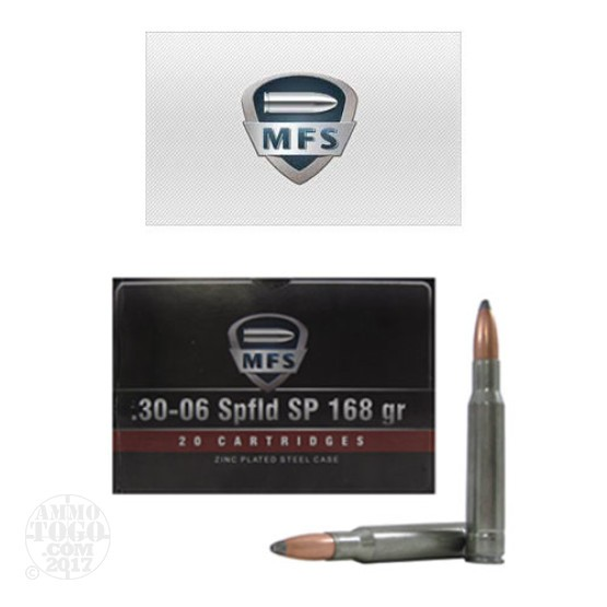 20rds - 30-06 MFS 168gr. Steel Cased Zinc Plated SP Ammo