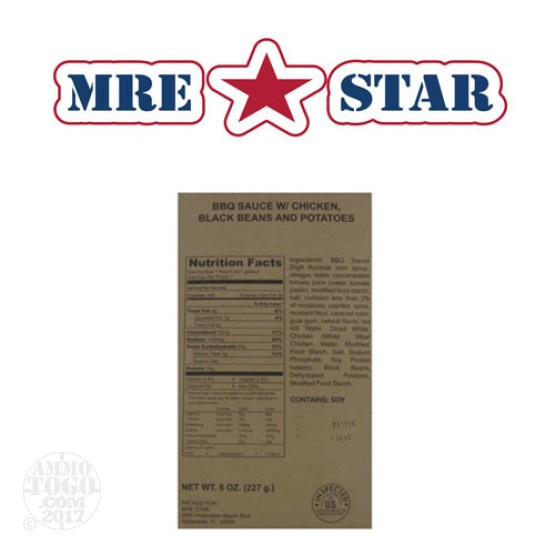 1 - MRE STAR BBQ Sauce w/ Chicken, Black Beans, and Potatoes Entree Only