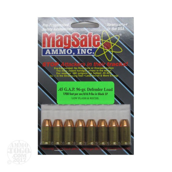 8rds - 45 GAP Magsafe 96gr. Defender Load Ammo