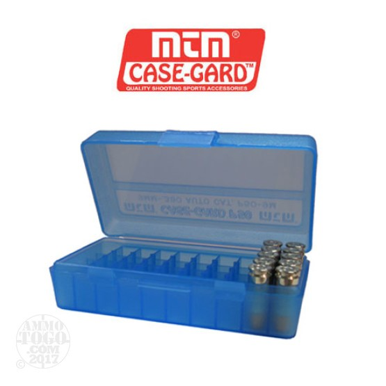1 - MTM Case-Gard P50 Series 50rd. Pistol Ammo Box for 9mm - .380 Blue Color