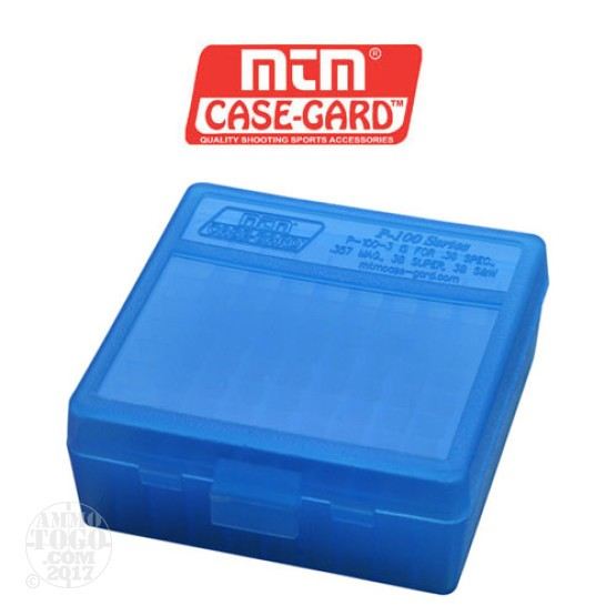 1 - MTM Case-Gard P-100 100rd. Pistol Ammo Box for .38 - .357 Blue Color