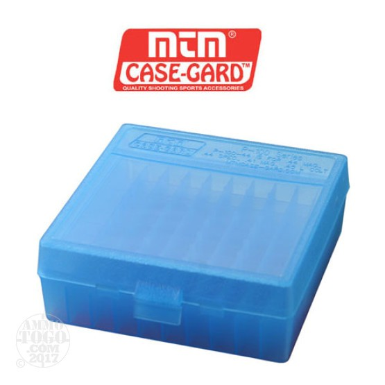 1 - MTM Case-Gard P-100 100rd. Pistol Ammo Box for .44 - .45 Long Blue Color