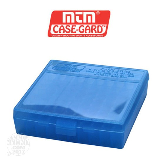 1 - MTM Case-Gard P-100 100rd. Pistol Ammo Box for .45 - .41 Blue Color