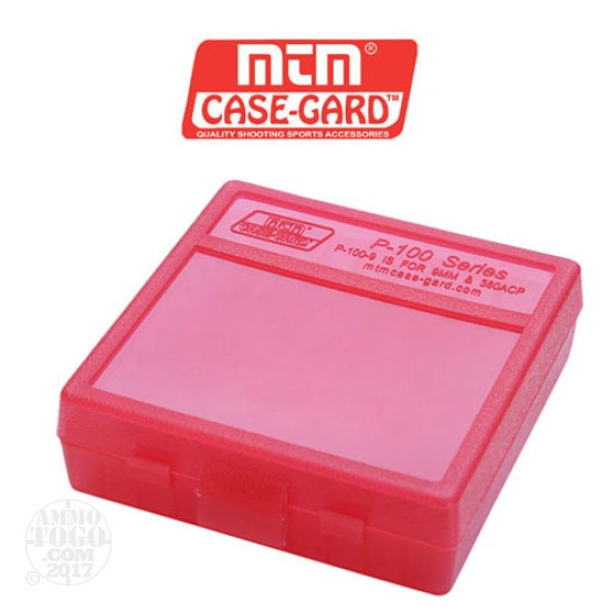 1 - MTM Case-Gard P-100 100rd. Pistol Ammo Box for 9mm - .380 ACP Red Color