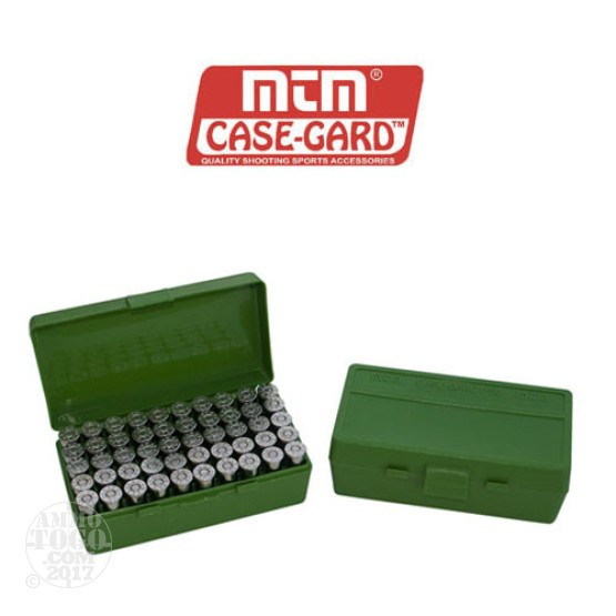 1 - MTM Case-Gard P50 Series 50rd. Pistol Ammo Box for .25 - .32 LC Green Color